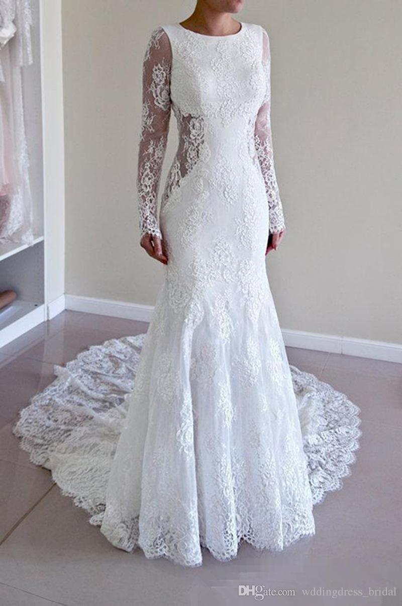 Fotos Vestidos De Noiva Sexy Casamento Mermaid Dress Vestido Branco Longo 2019 Jewel Branco Renda Vestidos De Casamento Backlesss Manga Comprida