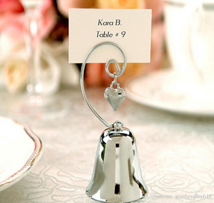 12pcs campana d'argento cuore nome numero menu tabella segnaposto porta clip matrimonio baby shower favore ricevimento ricevimento
