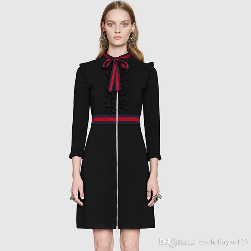 Runway Dress 2017 Black maniche lunghe Bow Collar donne abito di marca stesso stile abiti a righe donne N017