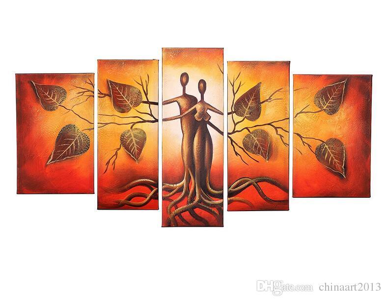 Çerçevesiz 5 adet 100% El-Boyalı Yağlıboyalar Peyzaj İnsan Yüz Öpücük Ağaçlar Çift Soyut Yapıt Ev Dekorasyon