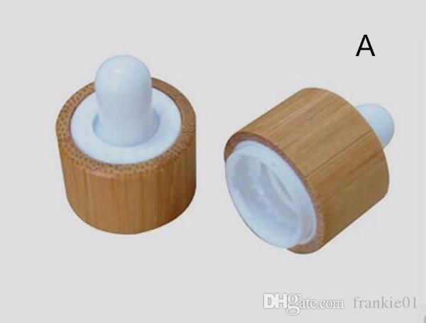 2017 nueva botella cuentagotas tapa a prueba de niños de bambú para la botella de aceite de perfume essentail botella de vidrio de 30 ml 50 ml 60 ml e líquido
