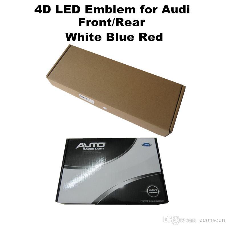 Logo 4D coches Placas luces LED azul blanco rojo del emblema del frente de luz trasera para Audi Q5 Q3 A1 A3 A4 A6 A8 LA5