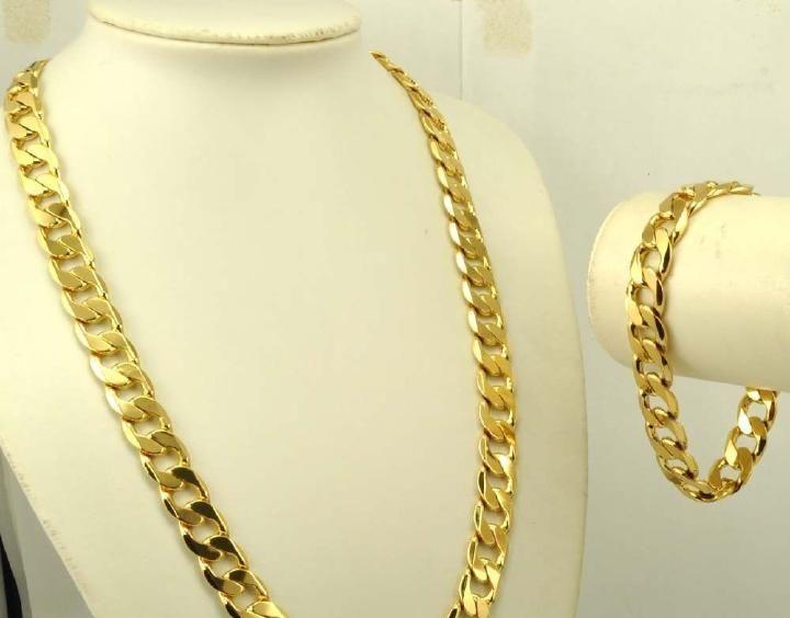 الرجال الثقيلة 24 كيلو الذهب الأصفر الحقيقي الصلبة GF قلادة + سوار مجموعة مجوهرات الصلبة كبح سلسلة مجموعات الكلاسيكية