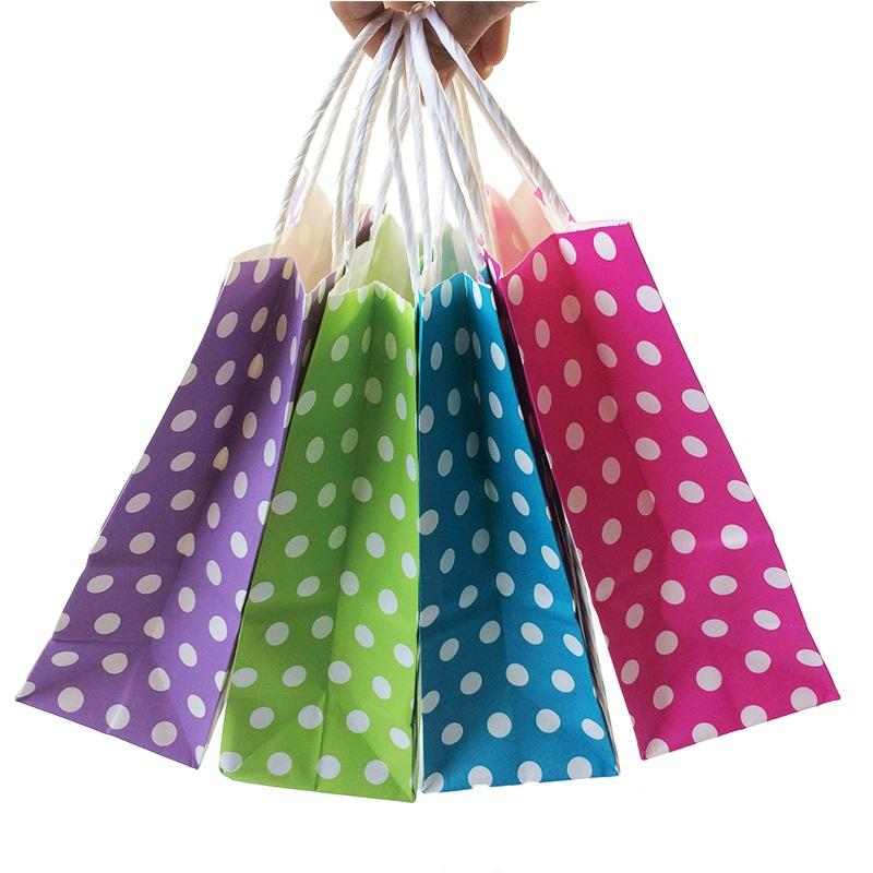 Wholesale 21*15*8cm Polka Dot kraft paper gift bag Festival Paper bag with handles Fashionable jewellery bags wedding birthday party