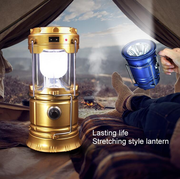 Luminaire LED Exterieur 6LEDs Solar Power Collapsible Flashlights Portable Lamp LED Rechargeable Hand Lamp Camping Lantern Light