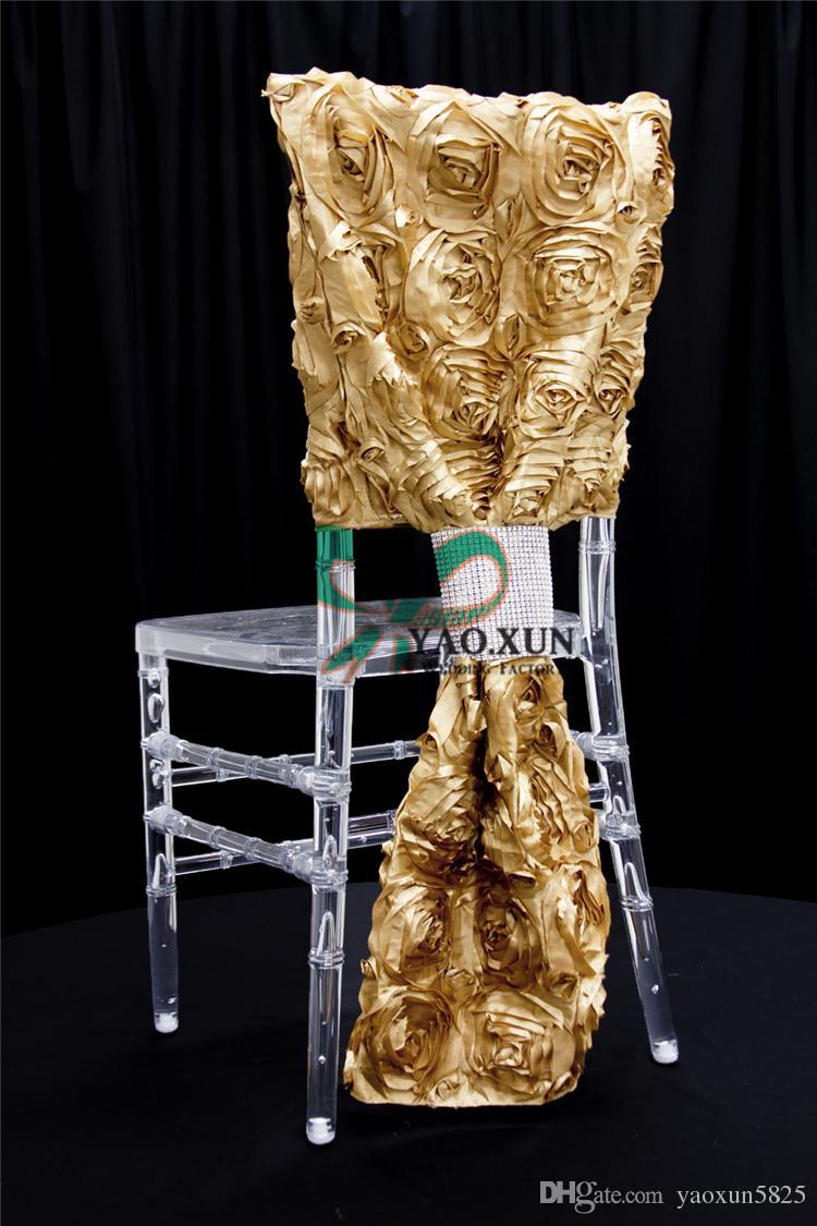 50pcs Sale Satin Rosette Chair Cap \ Chiavari Chair Cover Include Buckle Free Shipping