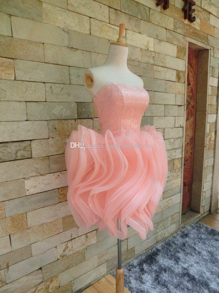 Compre Vestido De Baile Corto Sin Tirantes De Color Rosa Bebé Puffy ...
