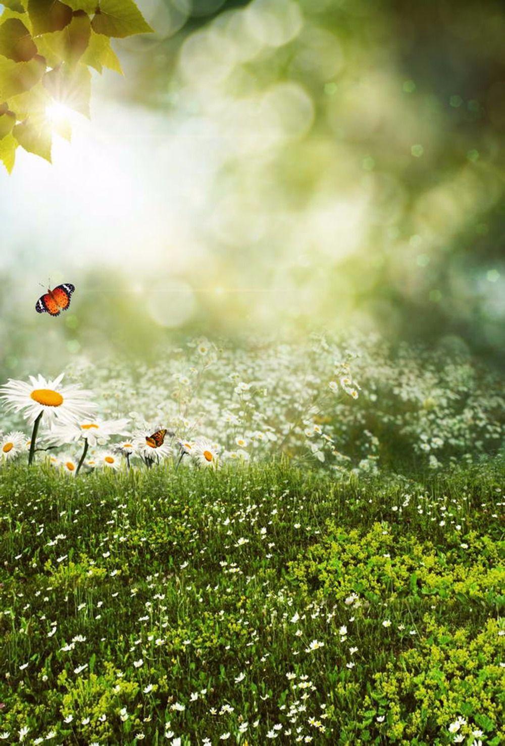 2019 Kids Spring Photos Backgrounds White Flowers Green Grass Sunshine Sparkle Polka Dots Bokeh Photography Backdrops Vinyl Scenic Wallpaper From