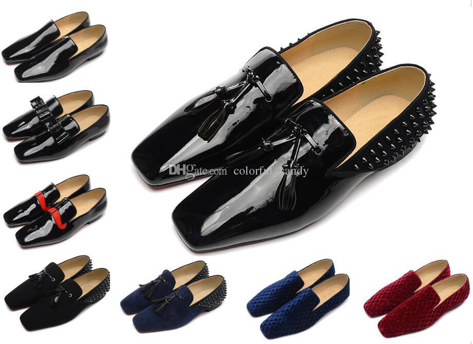 Erkek Tasarımcı Ayakkabı Loafer'lar Lüks Parti Düğün Ayakkabı Tasarımcısı SIYAH PATENT püskül ile Süet Süet Spike Çivili elbise ayakkabı mens