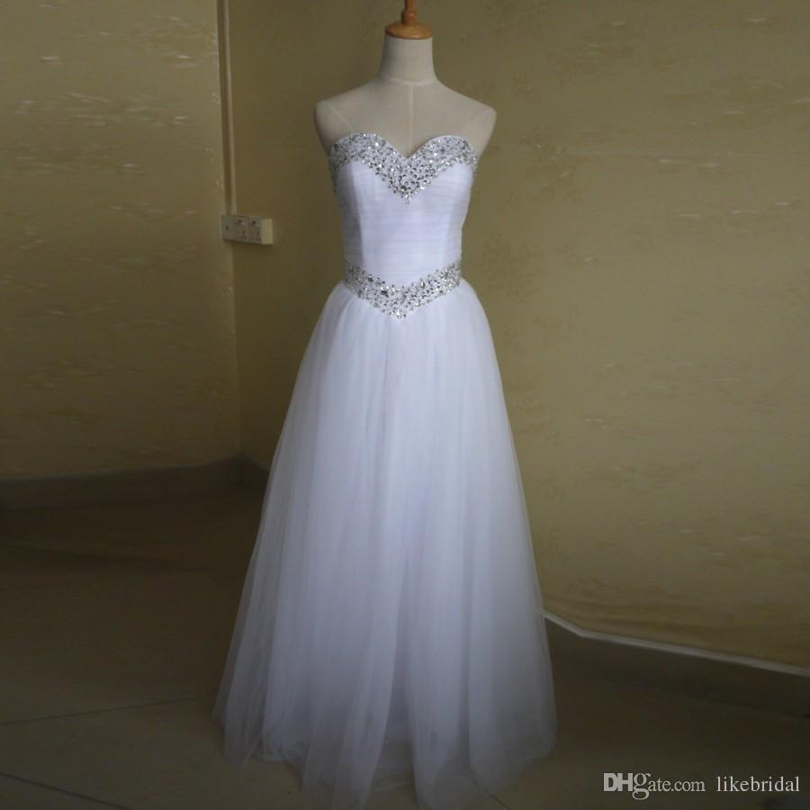 Großhandel Einfache Eine Linie Brautkleider Schatz Pailletten Perlen Weiß  Hochzeitskleid Bodenlangen Tüll Günstige Brautkleider 12 Vestidos De