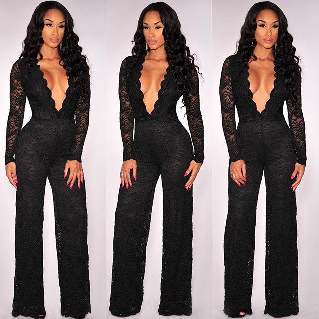 Wholesale- 2016 Fashion Sexy Deep V-neck Black Clairvoyant Bodycon Jumpsuit Long Sleeve Full-Length Lace Rompers Womens Jumpsuit Clubwear