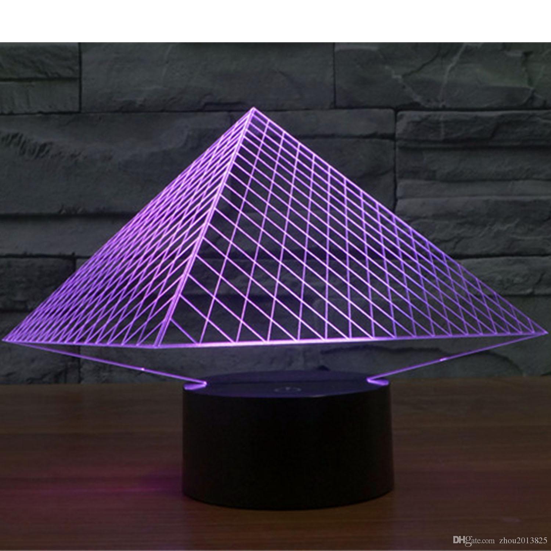 7 цветов изменить 3D оптическая иллюзия с питанием от USB египетские пирамиды сенсорный Botton настроение лампы освещения гаджет настольная лампа