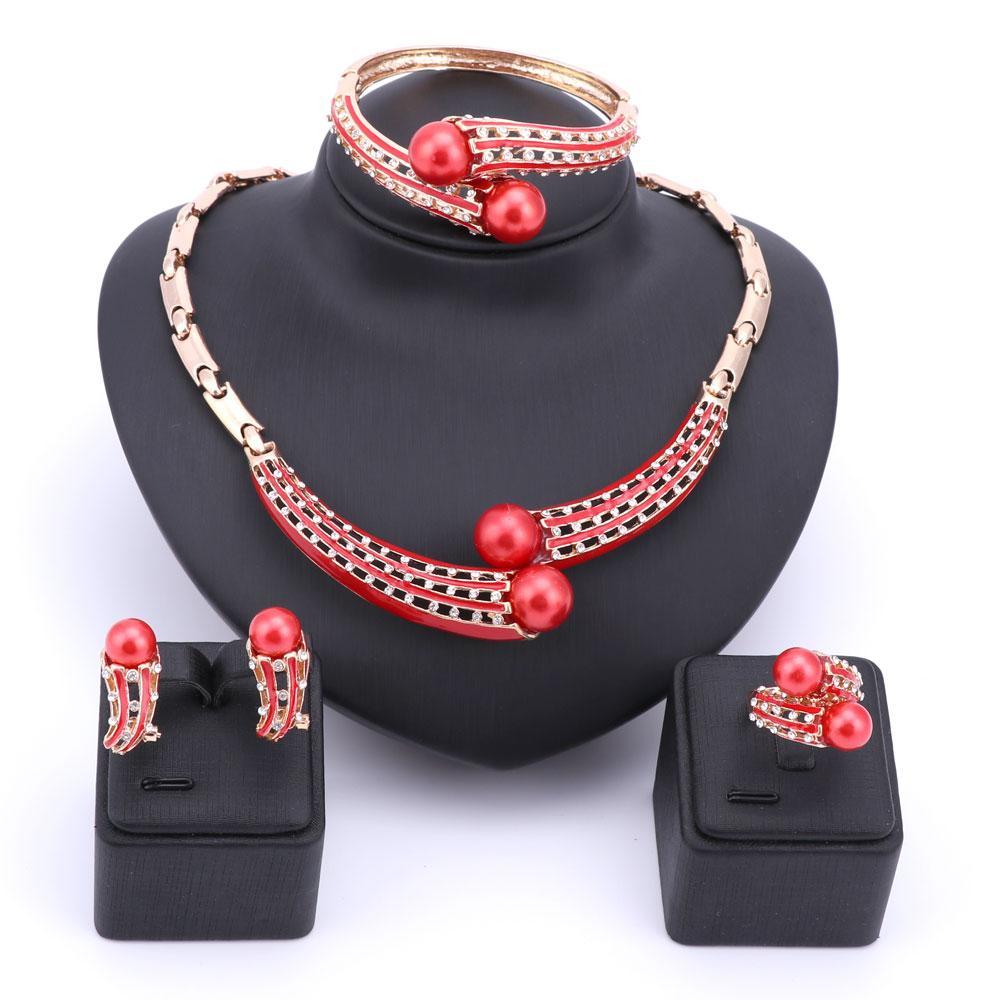 Simulado perla sistemas de la joyería perlas africanas collar moda collar pendientes brazalete anillo de cristal boda nupcial accesorios conjuntos