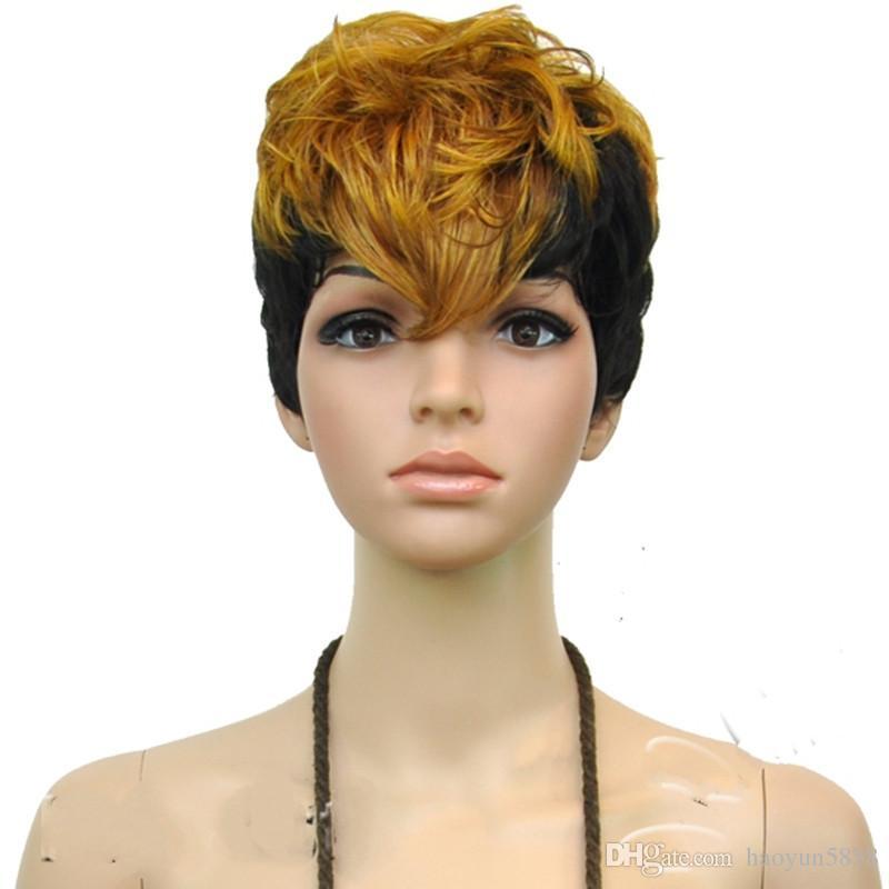 HAIRJOY Capless Термостойкие Синтетические Волосы Парик Двойной Цвет Fashion Party Cosplay Парики Короткие Вьющиеся Полный Парик Party peruca Косплей Парики