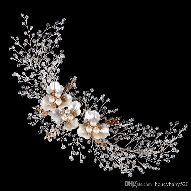 Wedding Bridal Hair Accessories Tiaras Headbands Crystal Pearls Shell Flowers Hairbands Handmade Girl's Party Prom Jewelry Silver 30*9cm