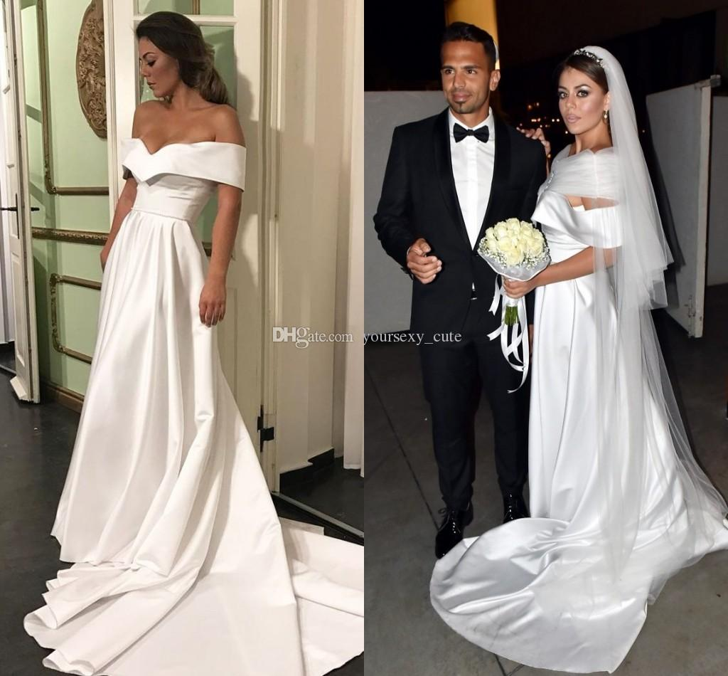 Simple White Satin Evening Dresses 2017 Off Shoulder Short Sleeves Ruched Ruffles Cheap Evening Gowns Plus Size Prom Dresses Sweep Train