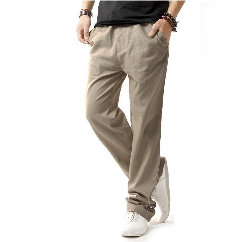 Toptan-yepyeni kaliteli yaz keten mens koşucuların gevşek pantolon erkekler için Casual ince düz pantolon pantolon