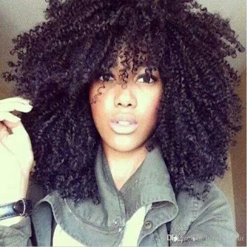 Nueva arrving simulación del pelo humano pelucas afro rizado rizado pelucas llenas con flequillo en stock envío gratis