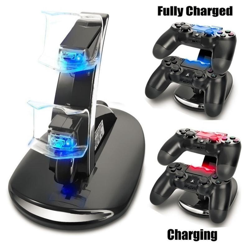 Led Station Dock Dual Usb شحن سريع حامل Sony Ps4 Controller Double Charge لعبة إكسسوارات قابس Play Seat Seat Charger Filling Line