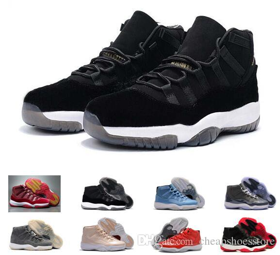 [Ship Box] 2017 New Cheap Mens 11 Black Velvet Heiress Basketball Shoes Sneakers for Men Outdoor Sports Shoes Free Drop Shipping