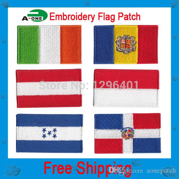 embroidery patch 200 country flags 10 pcs/lot, iron on hot cut border good quality for Jacket Jeans Clothing Badge