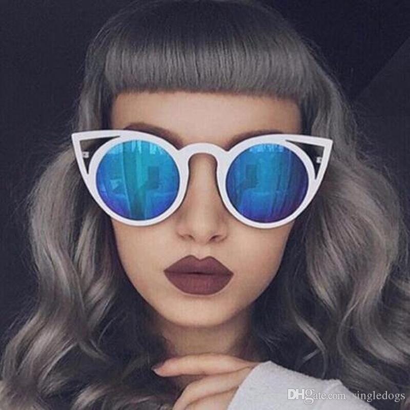 Hochwertige weibliche hochwertige marke designer mode spiegel frauen polit sonnenbrille uv400 vintage cat sport sonnenbrille mit kostenlosem versand