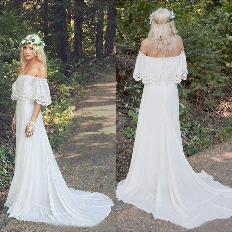 Hot Sale 2019 Bohemian Wedding Dresses Cheap Off The Shoulder Neckline A-line Court Train White Chiffon Boho Bridal Gowns Custom Made EN6121