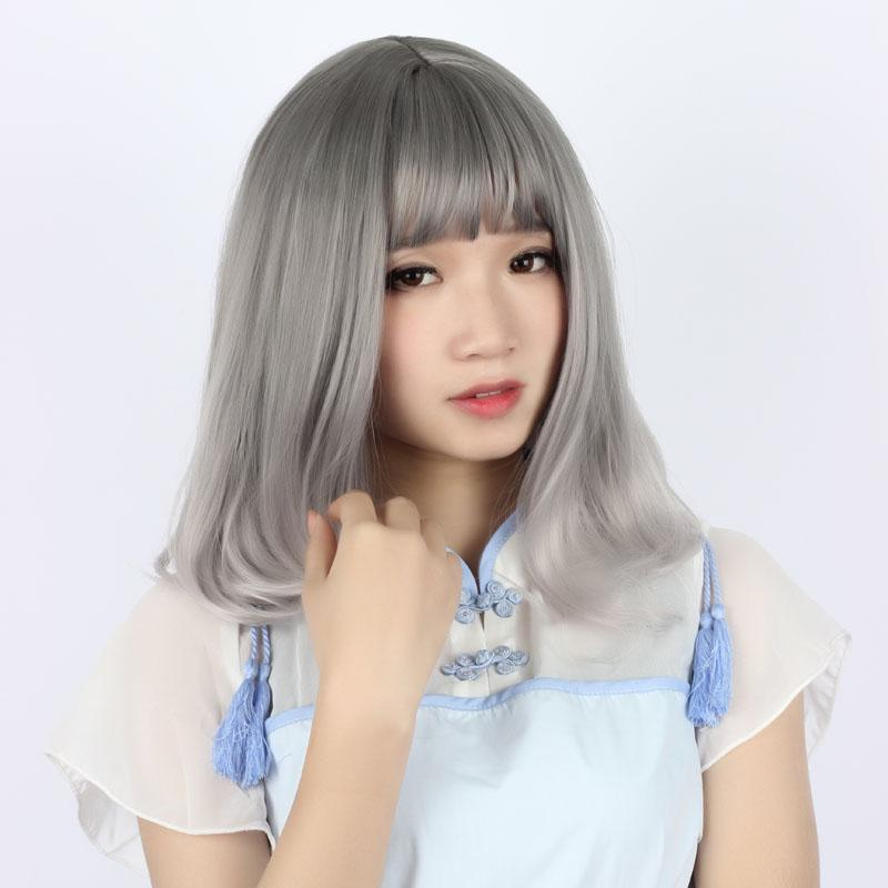 MCOSER Harajuku di alta qualità 50cm corto grigio sintetico ricci moda resistente al calore fibra lolita parrucca del partito di cosplay