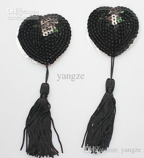 Sexig Sequin Nippel täcker med Tassel Hjärtformad Bröstnippel Omslag Nya Mode Sexiga Pasties Svart 1 Par