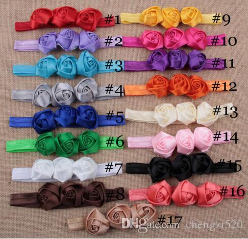 Accessoires de cheveux nouveau-nés bambin filles bébé dentelle fleurs ruban de satin roses élastiques bandes de main au détail YH475