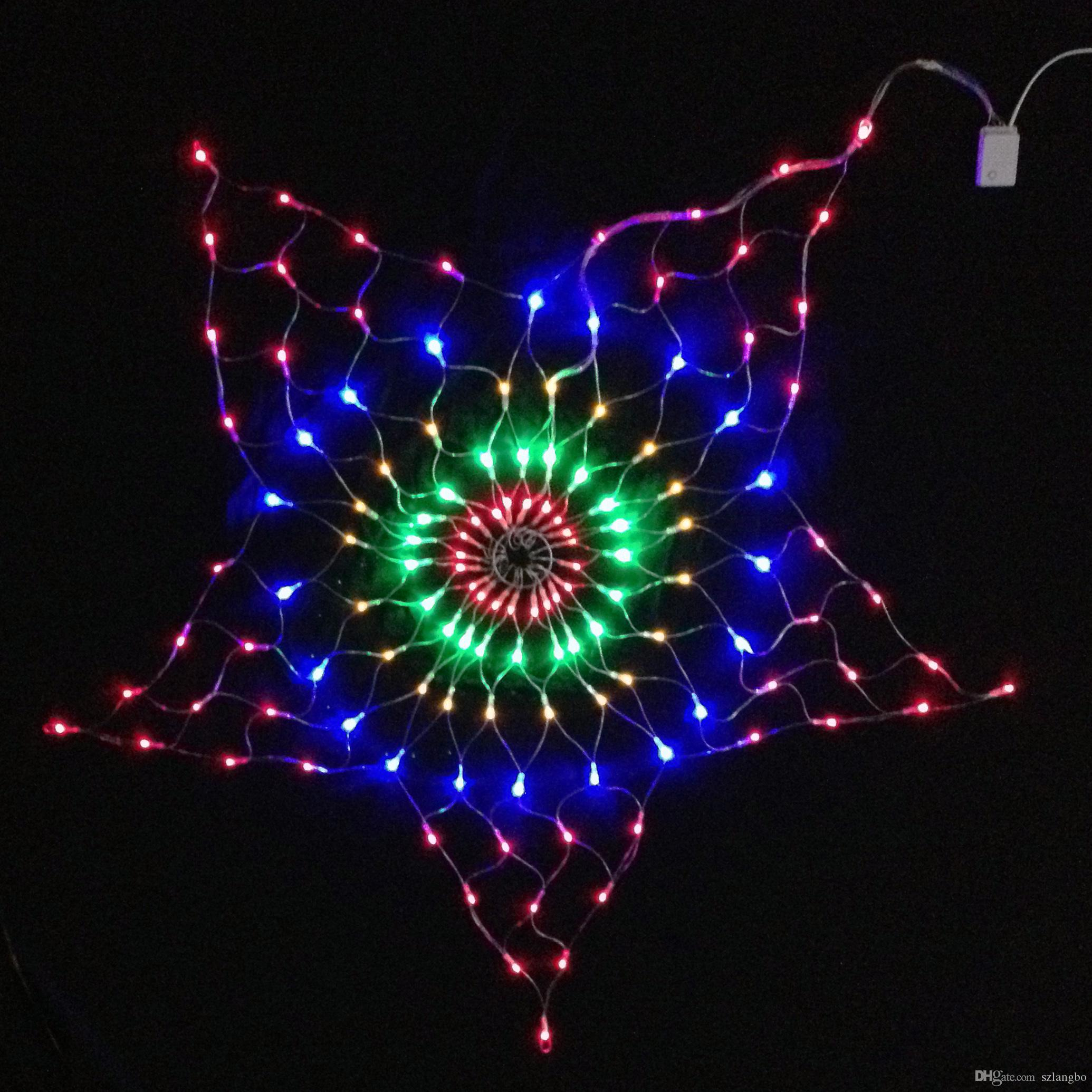 7W 130Pcs RGB LED Bulb Star Net Christmas Light Decoration AC220V Input 1.5 Meter Diameter Size Holiday Light , RGBY Color