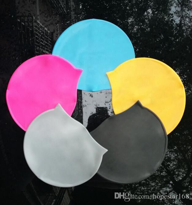 قبعة السباحة للماء للنساء الرجال الكبار تصفح قبعة حماية آذان طويلة الشعر الرياضية السباحة بركة دش كاب عدة ألوان