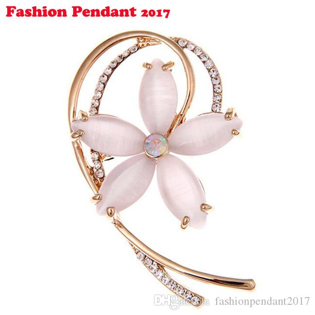Hot Selling Fashionable Opal Stone Flower Brooch Pin crystal Garment Accessories Birthday Gift pink blue pins for women