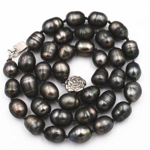 Natürliche 9-10mm Ttahian Reisform Schwarze Perlenkette 18 Zoll 925 Silber Verschluss