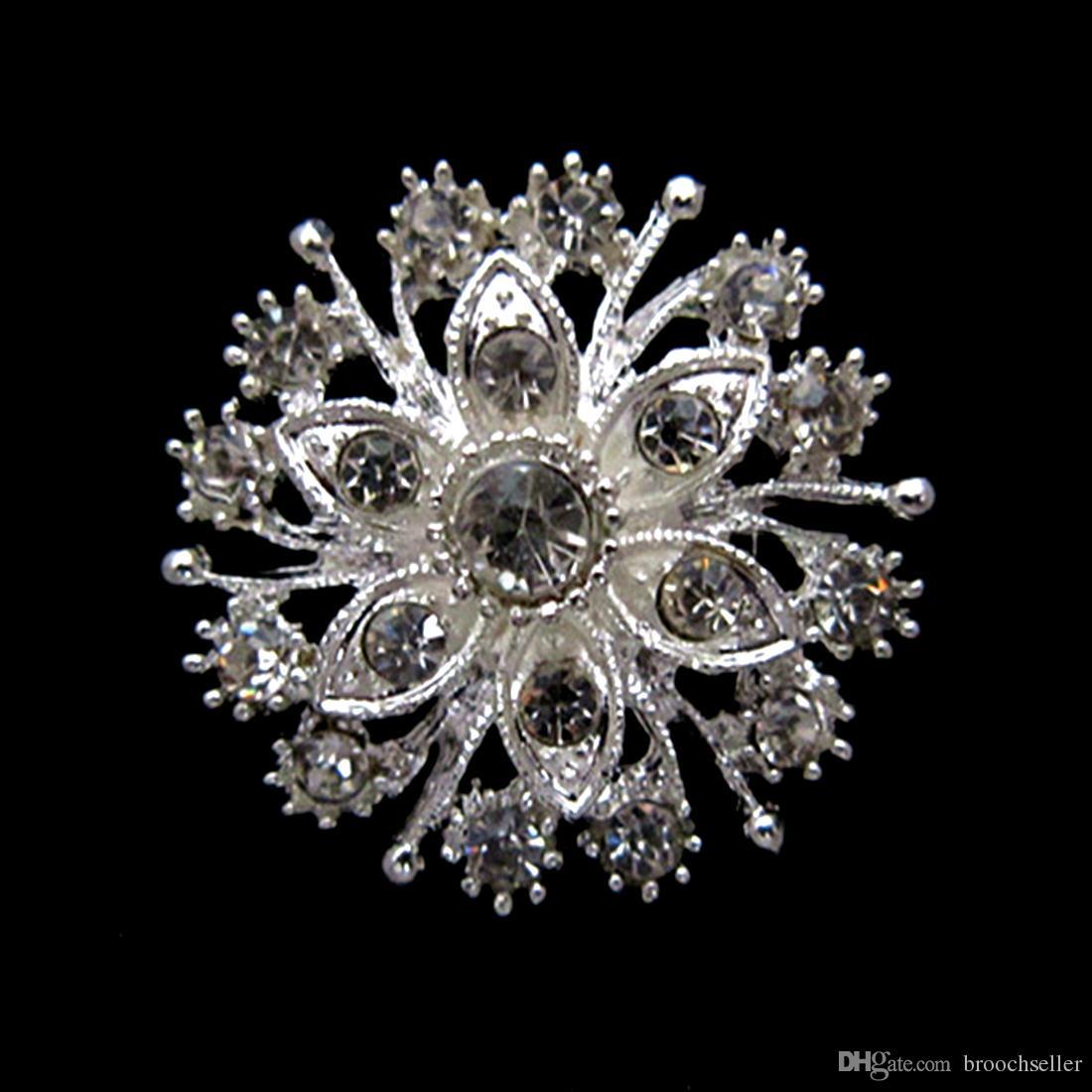 1.4 inch verzilverd helder strass kristal mooie bloem pin broche