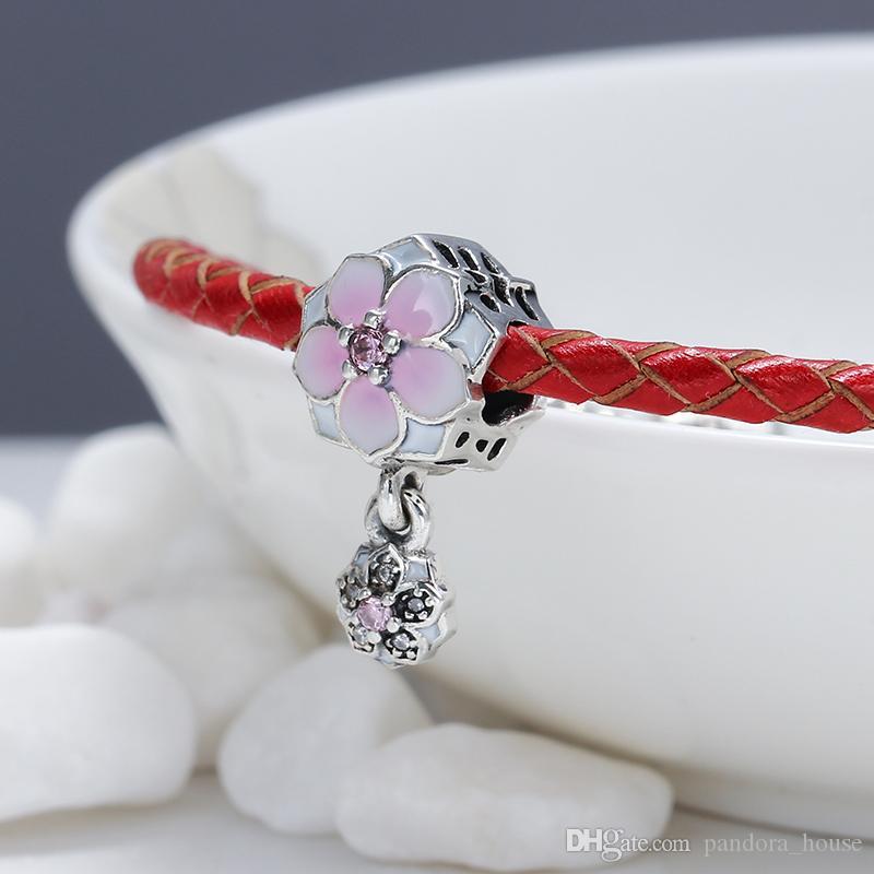 2017 Printemps Réel 925 Sterling Argent Non Plaqué Double Fleur Coeur CZ Charmes Européen Charmes Perles Fit Pandora Bracelet DIY Bijoux