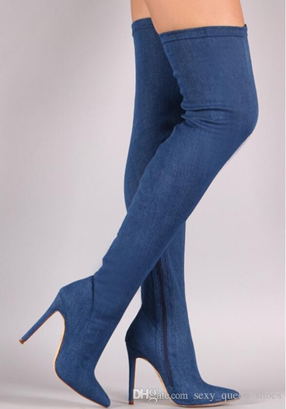 Ücretsiz Kargo 2018 yeni Sıcak Satış Kadınlar Seksi Streç Kumaş moda ayakkabı Zip Diz Yüksek çizmeler üzerinde Sivri Burun Botas Mavi 10 cm