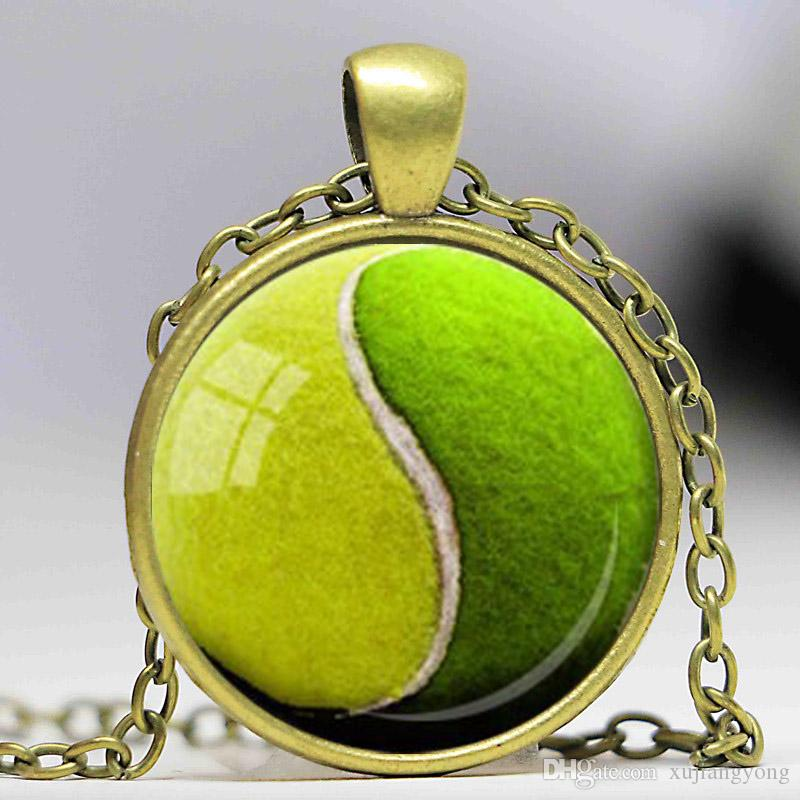 YIN YANG TENNIS Ciondolo palla Tennis Lover Collana ciondoli in vetro regalo Verde Giallo Ciondolo gioielli sportivi CN505