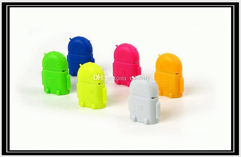 Multi couleur Option Forme Robot Android Micro Convertisseur USB OTG Adaptateur USB 2.0 pour Samsung Galaxy S3 S4 S5 2016