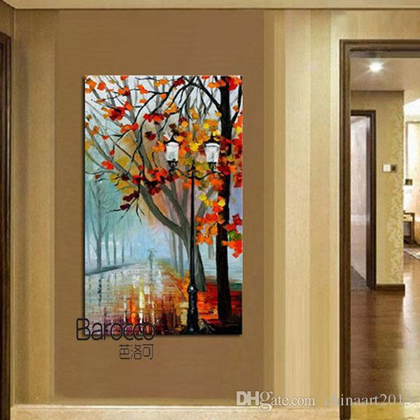 Rainday Stree Wall Art Peintures 100% peint à la main paysage peinture à l'huile sur toile épaisse moderne populaire décoration de la maison