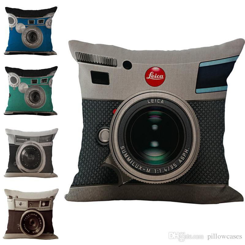 Vintage Teal Camera Throw Pillow Cases Cushion Cover Pillowcase Home Office Sofa Square Pillow Case Pillowslip Textiles Gift 240438