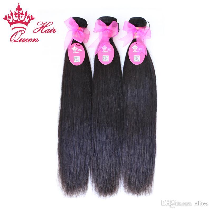 """Королева волос DHL бесплатная доставка природные прямые девственные бразильские человеческие волосы смешанная длина, 3 шт. / лот 8""""-28"""" нет пролить фирма уток"""