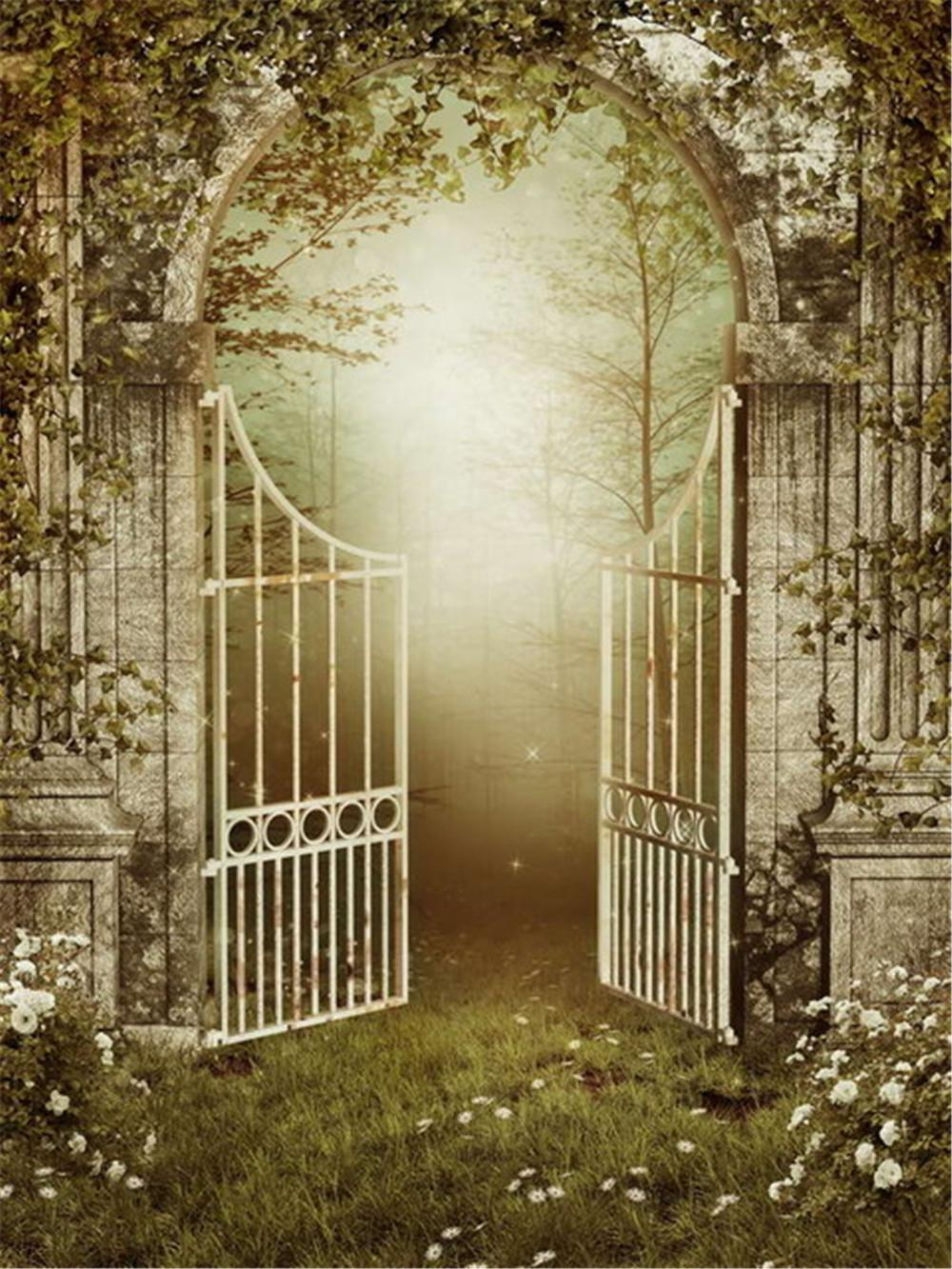 Vintage Photo Background Fairy Tale White Roses Old Iron Gate Mysterious Forest Photography Backdrops Studio Booth Wallpaper Props