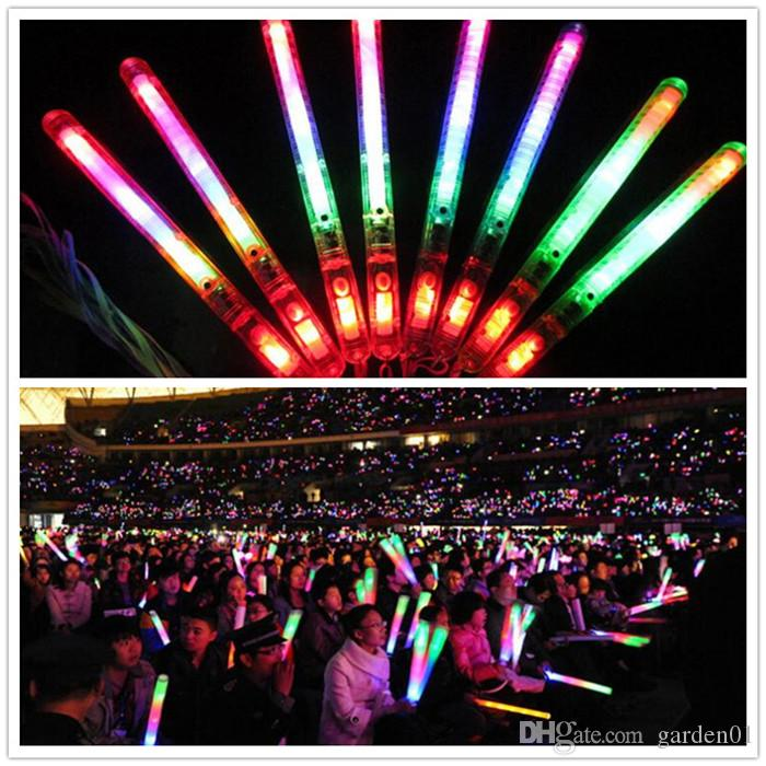 Multi Colorful 3 Modes LED Flashing Night Light Lamp Glow Wand Sticks + strap Birthday Christmas Party festival Camp G082
