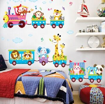 Lovely Cartoon Train Animals Pattern Removable Wall Sticker For Kids Room Children Bedroom Classroom Kindergarten Wall