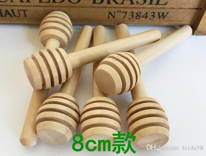 8cm lang Mini Holz Honig Stick Honig Dippers Party Supply Löffel Stick Honig Jar Stick Kaffee