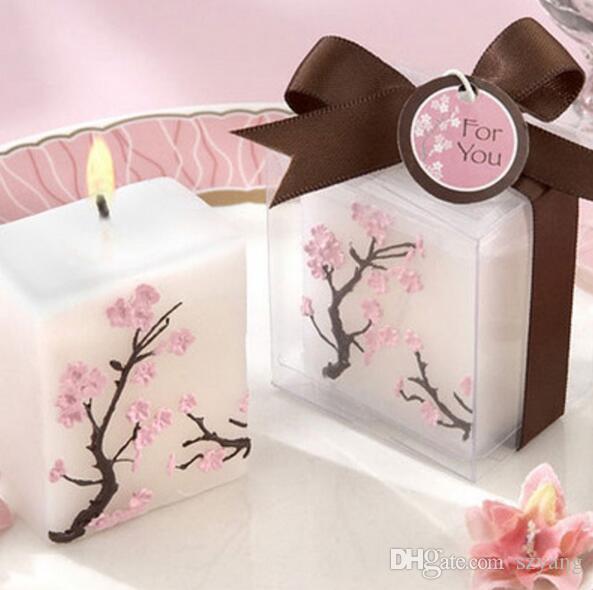 100 pcs Bougies De Mariage Sans Parfum Cire parfumée Cherry Blossoms Bougie De Mariage Cadeau Cadeaux Faveurs Partie Décoration
