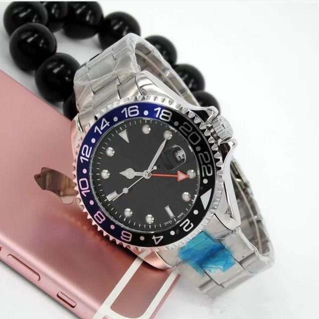 44MM relogio masculino mens 시계 패션 블랙 다이얼과 달력 팔걸이 접는 걸쇠 마스터 남성 선물 Mens 시계