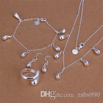 позолоченные стерлингового серебра 925 комплект ювелирных изделий капли воды кулон ожерелье серьги браслеты кольца для женщин бесплатная доставка