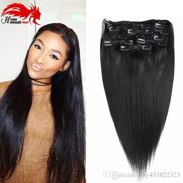 10 pezzi Clip nelle estensioni dei capelli umani brasiliani Clip di capelli vergini nelle estensioni diritte dei capelli umani di Remy 140g per le donne nere